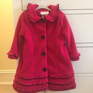 Red fleece dressy coat with matching hat. NWOT